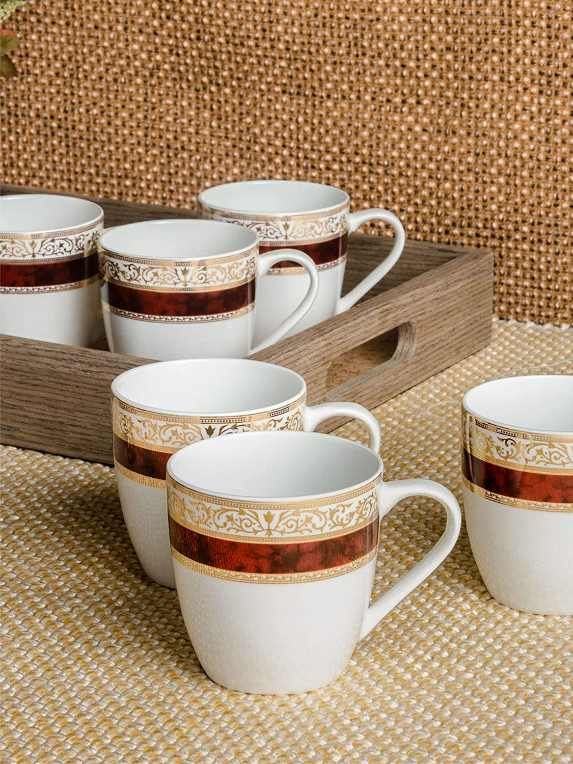 Buy Bone China Tea Cups Coffee Mugs With Real Gold Design Print Medium Size Set Of 6 Mugs Made In India Online At Low Prices In India Amazon In
