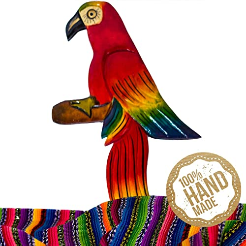 Mayan Traits Guacamaya Wooden Wall Art Decor from Guatemala. Hand Carved Made with 100 Real Wood. Perfect for Living Room Bedroom Wall Hangings and Home Art Decorations – Great Animal Gift.