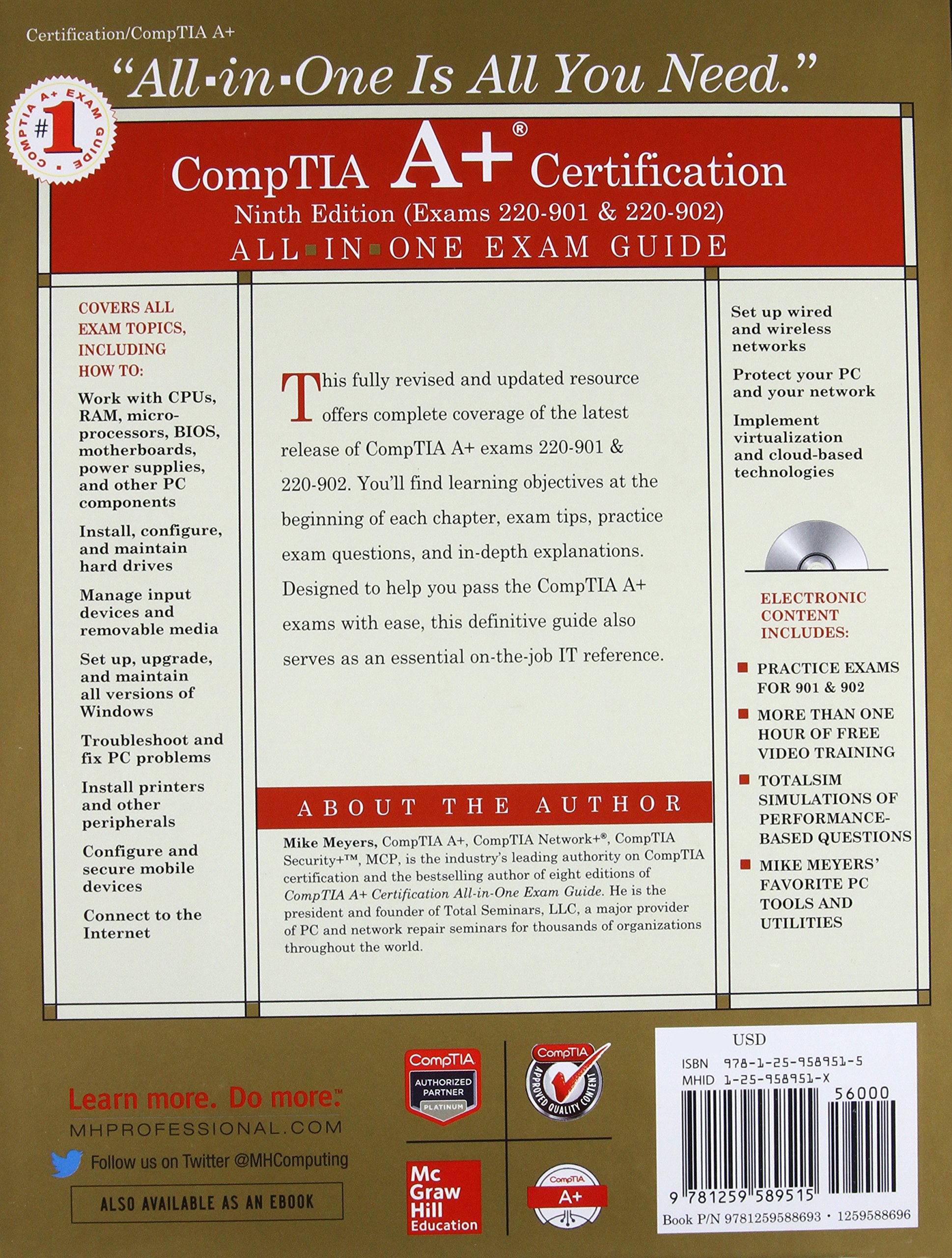 Comptia a certification all in one exam guide ninth edition comptia a certification all in one exam guide ninth edition exams 220 901 220 902 amazon mike meyers books xflitez Choice Image