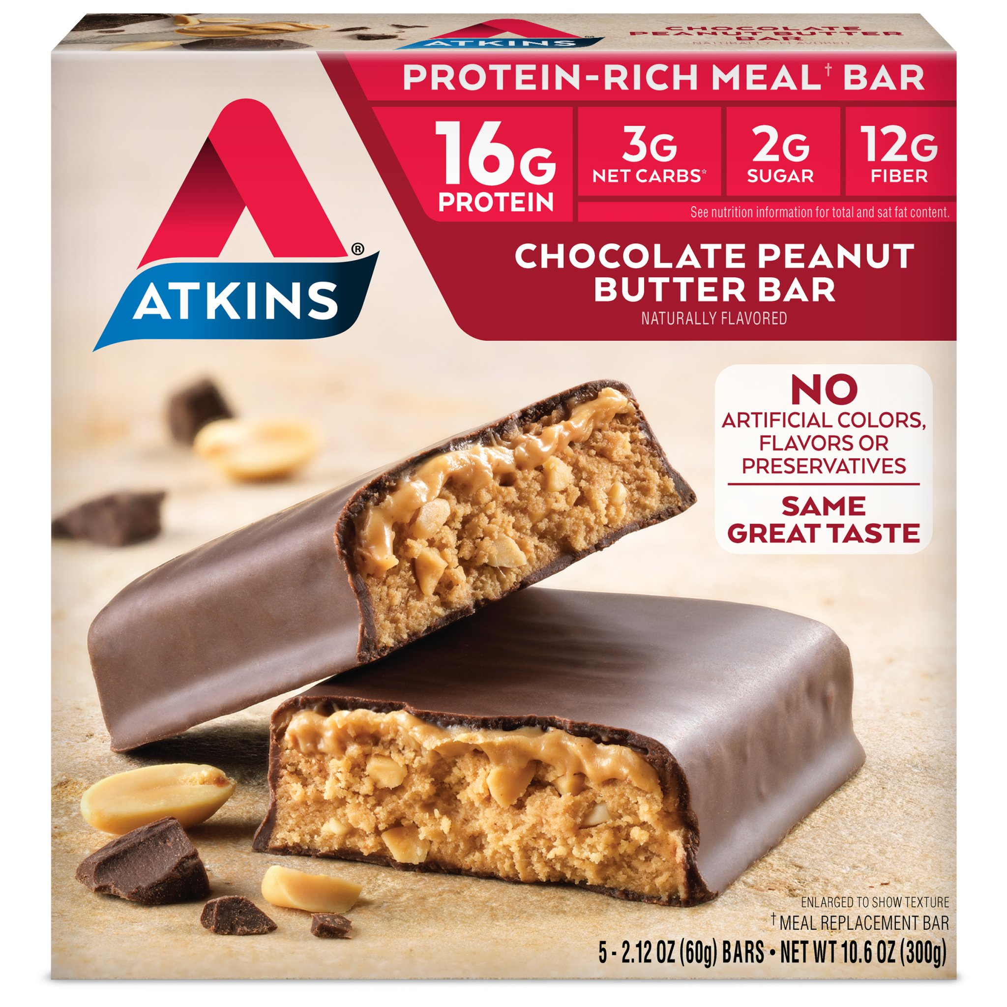 Atkins Protein-Rich Meal Bar, Chocolate Peanut Butter, Keto Friendly, 5 Count by Atkins