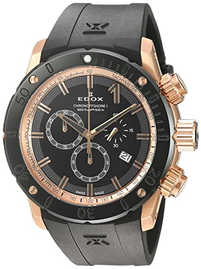 Amazon.com: Edox Mens Chronoffshore-1 Swiss Quartz Stainless Steel and Rubber Diving Watch, Color:Black (Model: 10221 37R NIR): Watches