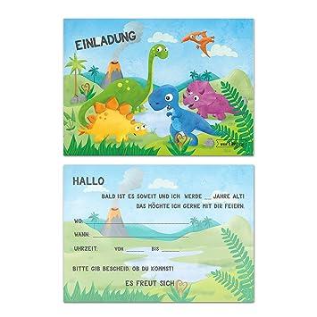 Kindergeburtstag Dinosaurier Jungen Geburtstag Einladung Dino  Einladungskarten Geburtstagseinladung Kinder Urzeit Mit T Rex, Triceratops