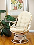 Lounge Swivel Rocking Java Chair Rattan Wicker Handmade with Cream Cushion, White Wash