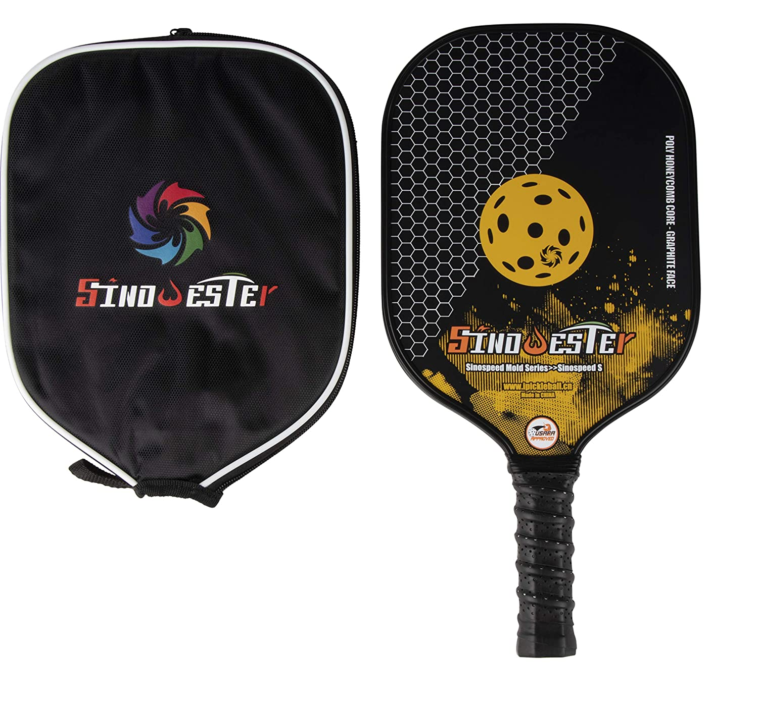 Amazon.com : Juvale Pickleball Paddle Racket with Cover, Graphite Faced, Polymer Honeycomb Core and Cushion Grip, 15.6 Inches : Sports & Outdoors