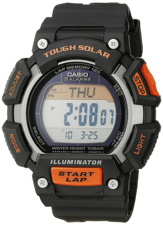967c4447d72d Amazon.com  Casio Men s STL-S110H-1ACF Tough Solar Runner Digital Black and Orange  Watch  Watches