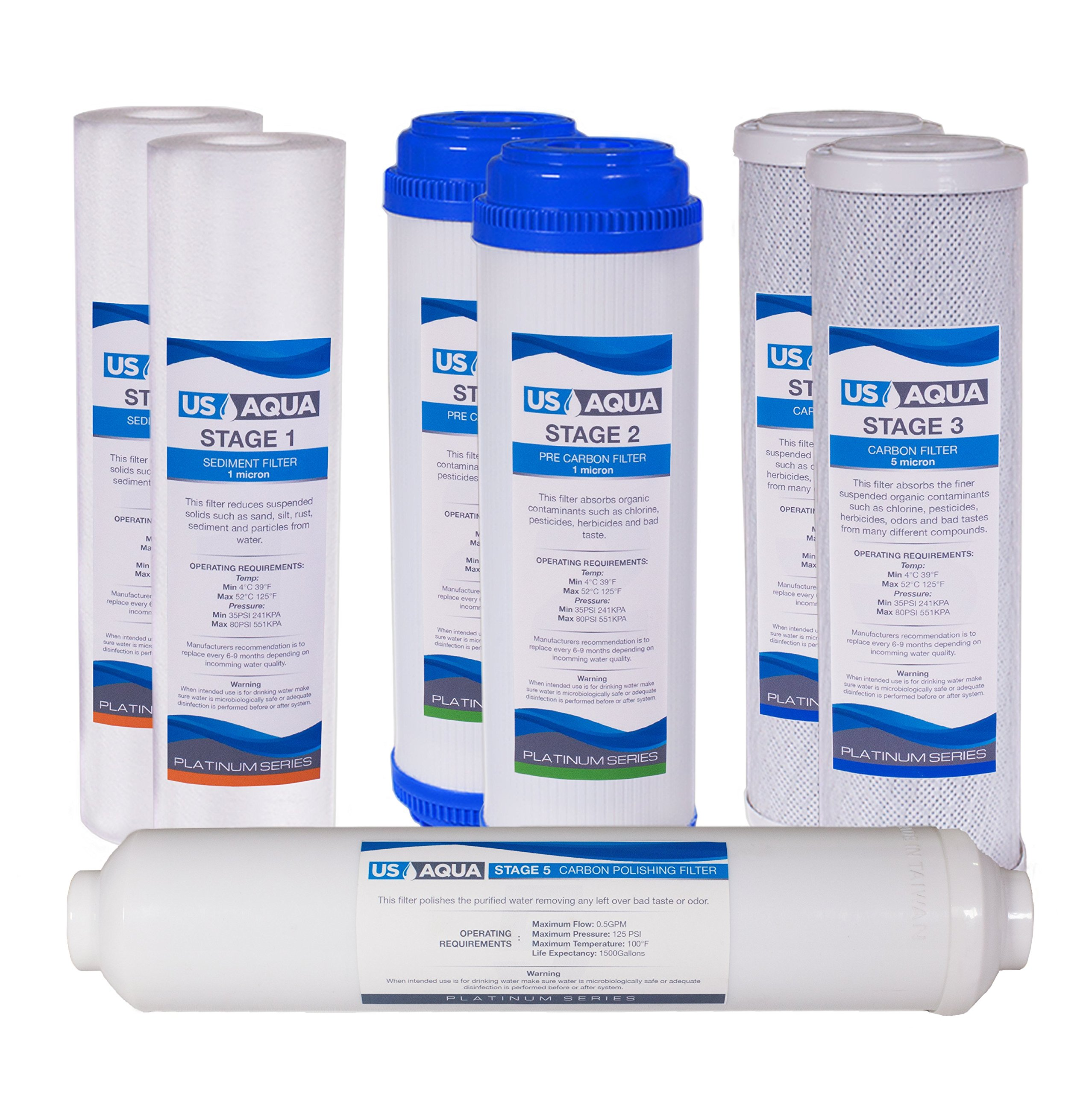 US Aqua Platinum Series 1-Year Filter Replacement Set For Standard Under Sink 5-Stage Reverse Osmosis Water Filtration Systems