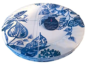 Cynthia Rowley White and Blue Leaf Melamine Dinner Plates Set of Four  sc 1 st  Amazon.com : cynthia rowley dinnerware collection - pezcame.com