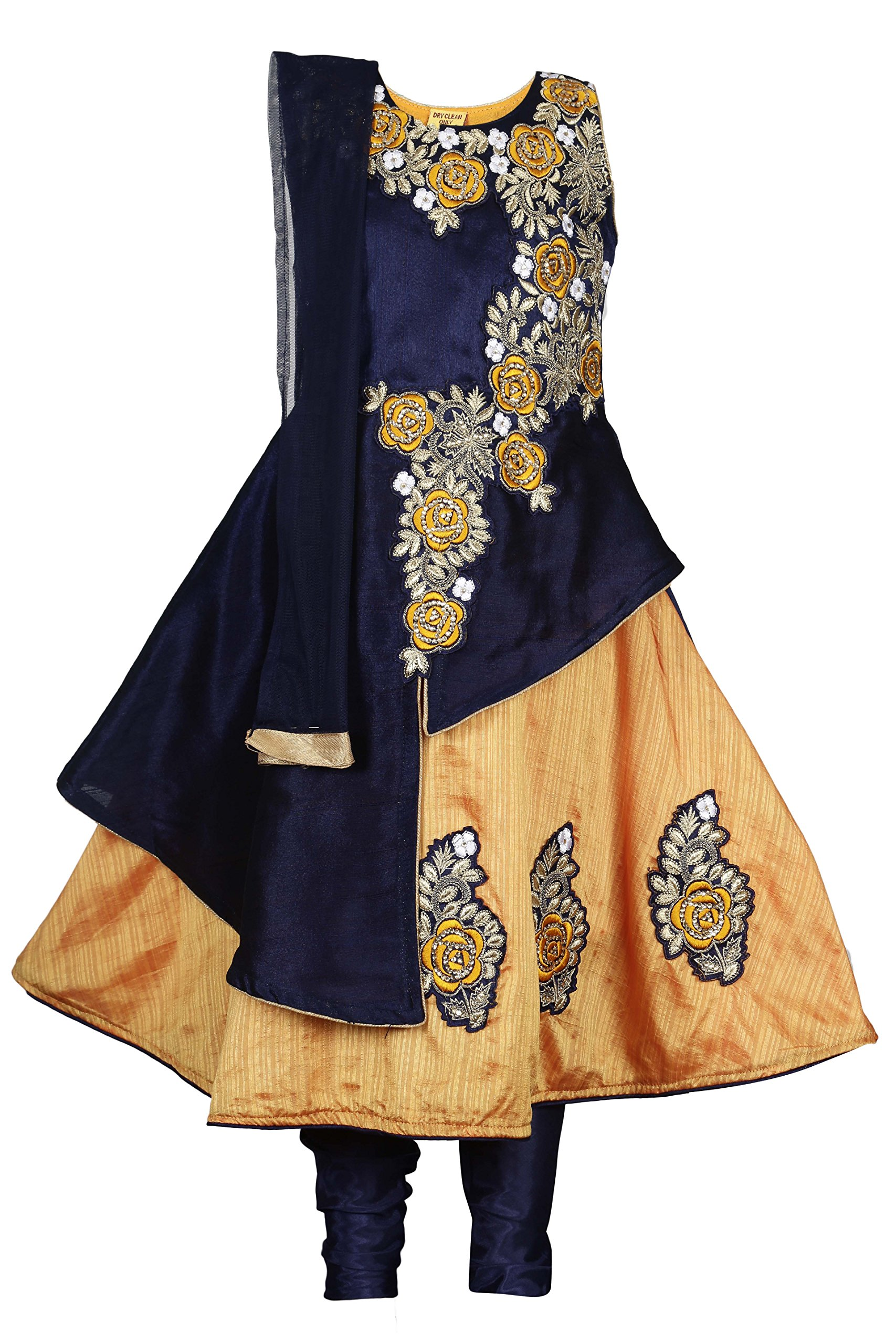 Ashwini Girls Embroidery Salwar Suit (Yellow, 4-5 Years)