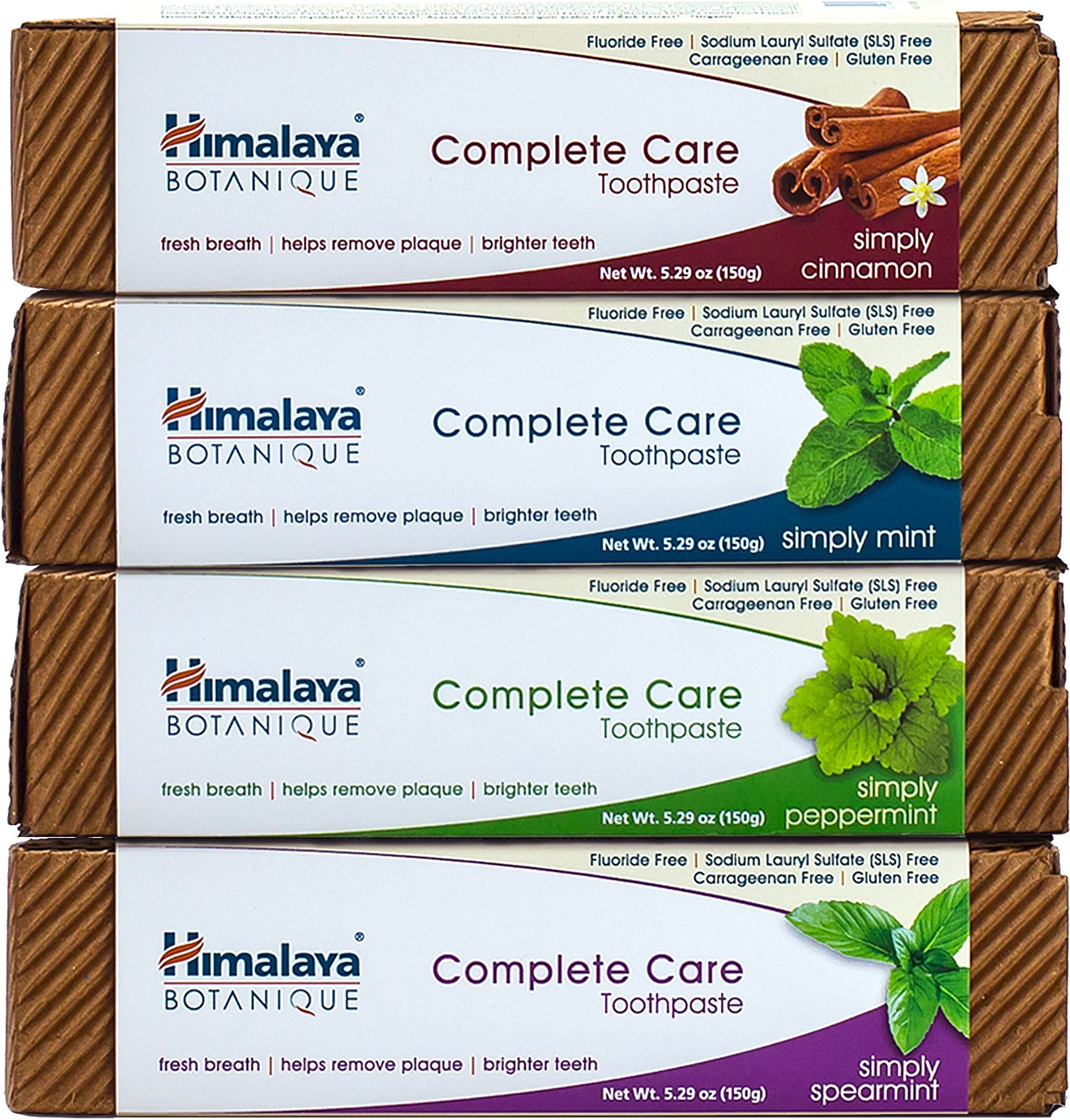 Himalaya Complete Care Toothpaste Variety Pack, Mint, Cinnamon, Peppermint and Spearmint, Natural, Fluoride-Free, SLS Free, Carrageenan-Free & Gluten-Free, 5.29 oz (150 g) each, 4 PACK