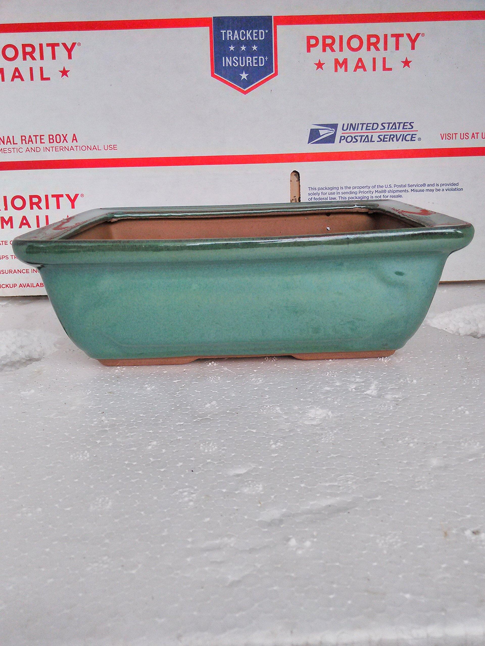 Ceramic Bonsai Pots - Japanese Jmbamboo Brand -Green Ceramic Pot Is 8x5.5'' Inches