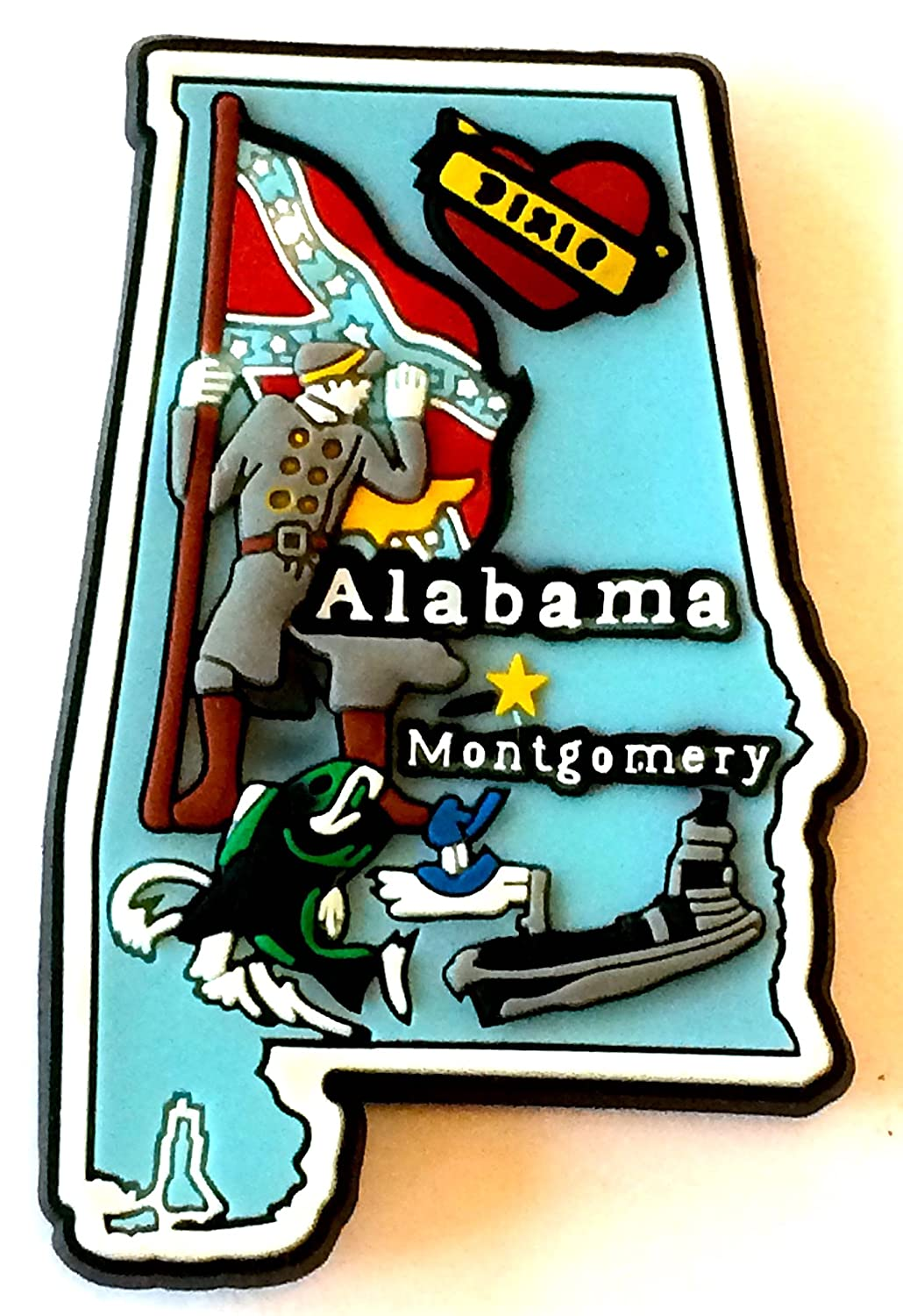 Alabama State Multi Color PVC Fridge Magnet Souvenir Destiny Alabamapvcmgnt