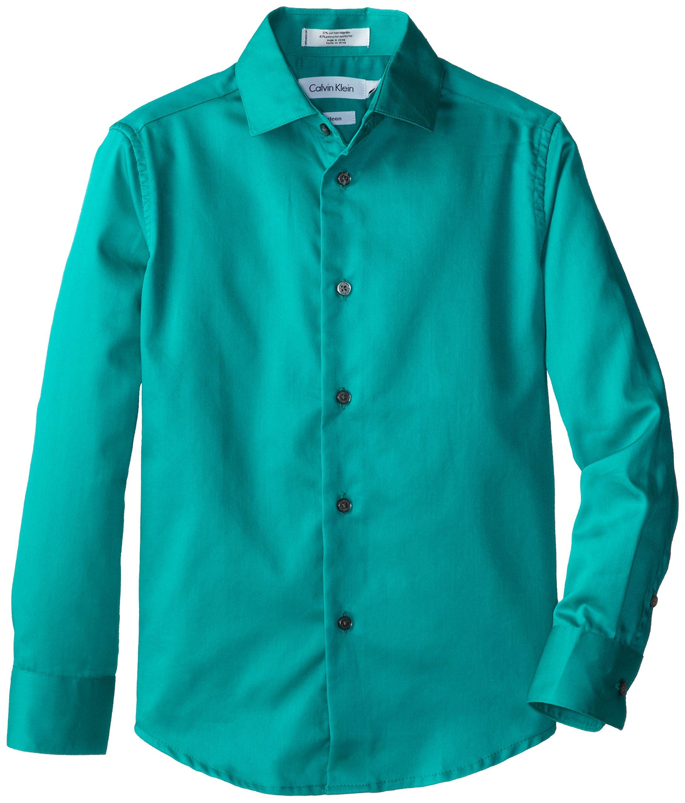 Calvin Klein Big Boys' Long Sleeve Sateen Dress Shirt, Bright Aqua, 20