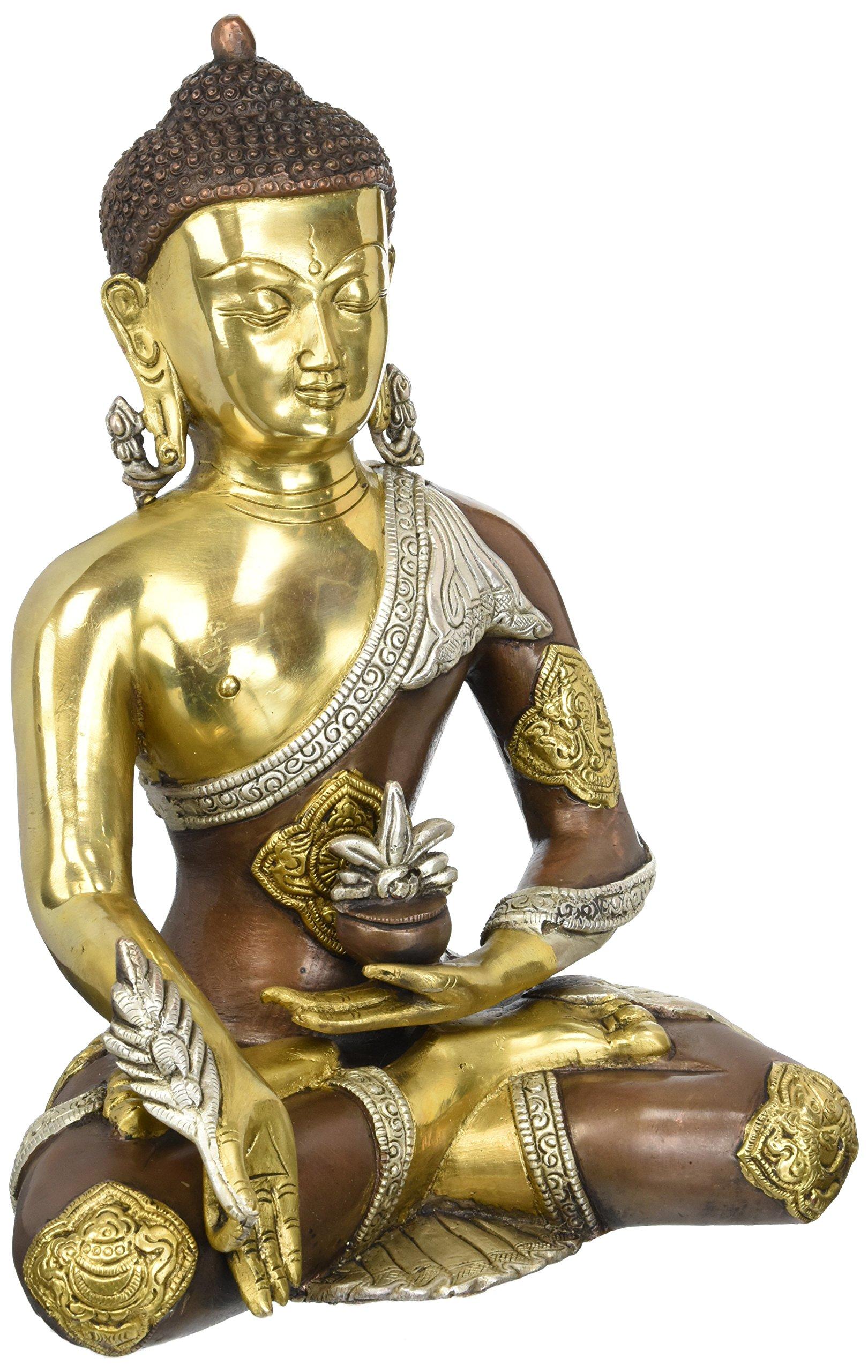 Aone India 12.5'' Large Buddha Bronze Statue Astmangal Medicine Buddha Sculpture -Hand carved Tibetian Buddha statue + Cash Envelope (Pack Of 10)