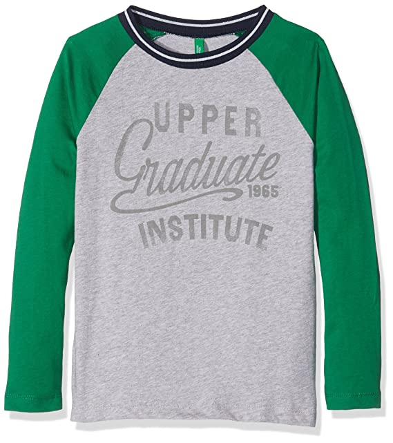 United Colors of Benetton 3QT6C12V2, Sudadera para Niñas, (Grey/Green Stripe)