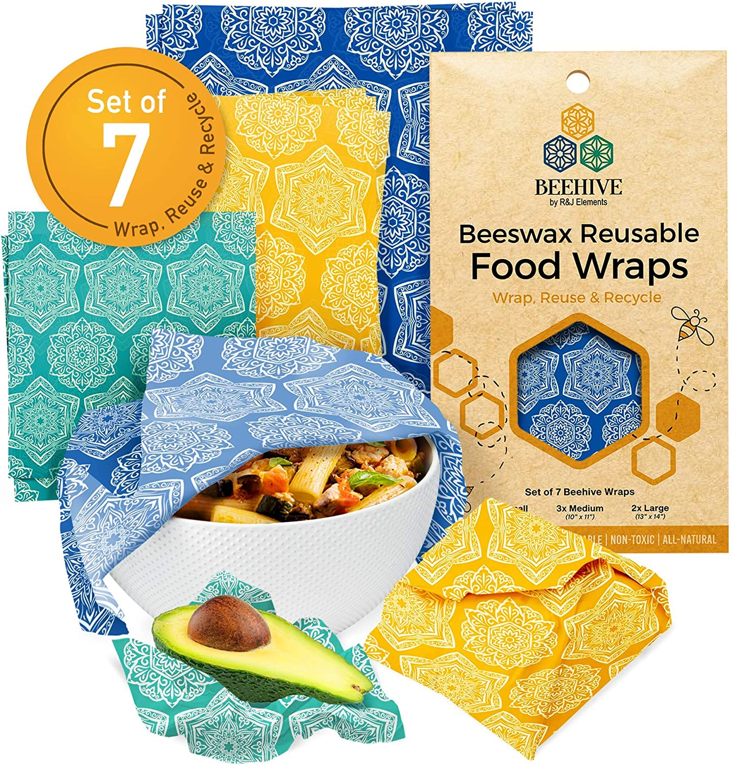 BEEHIVE Reusable Beeswax Food Wraps – 7 Pack Organic Food Wrap for Bread & Sandwich Wrapping – Eco Friendly, Sustainable & Zero Waste Biodegradable Bees Wax Wrap for Food Cover & Storage