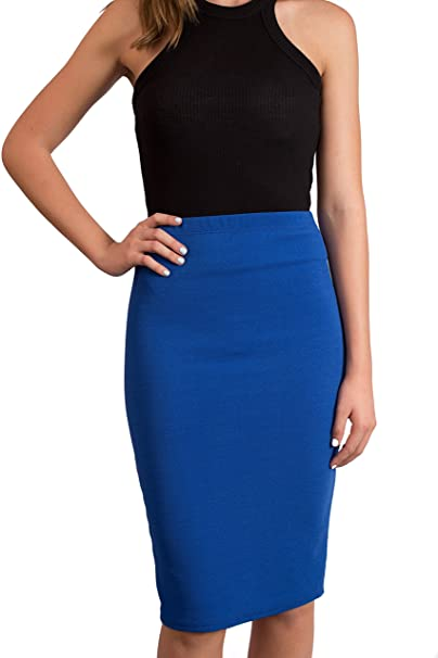 d8d6a49406 CALDORE USA Pencil Skirt for Women Knee Length Reflex Stretch Useful for  Office & Dress Wear at Amazon Women's Clothing store:
