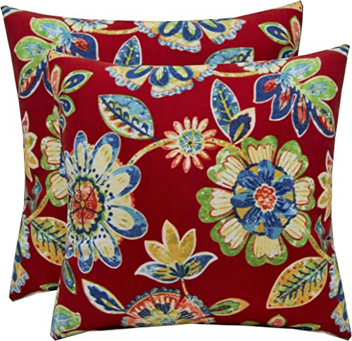 Set of 2 Indoor/Outdoor 17″ Square Decorative Throw Pillow