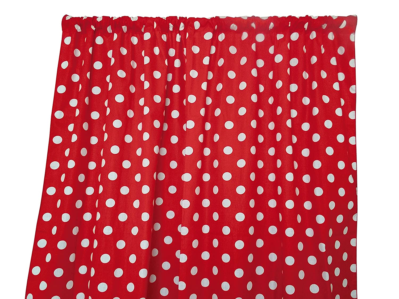Zen Creative Designs Premium Cotton Polka Dot Curtain Panel/Home Window Decor/Window Treatments/Dots / Spots (36 Inch x 58 Inch, White Red)