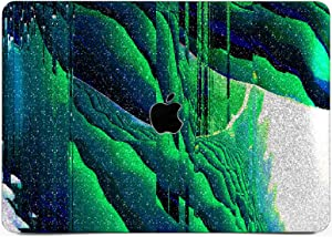"""Cavka Hard Glitter Case for Apple MacBook Pro 13"""" 2019 Retina 15"""" Mac Air 11"""" Mac 12"""" Bling Psychedelic Shiny Abstract Glitch Green Silver Art Rose Gold Sparkly Paint Glam Print Cover Glossy Design"""