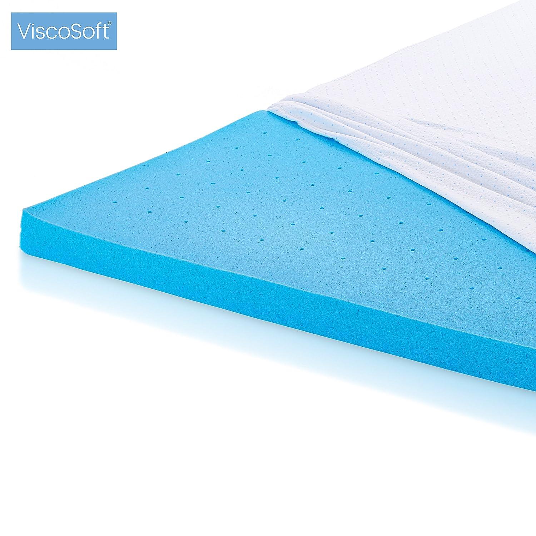 ViscoSoft ViscogelTM Matratzenauflage Matratzenauflage Matratzenauflage aus Memory-Schaum, 5 cm, erfrischendes Gel, hohe Dichte 50 kg m3, Bezug aus Bambus, abnehmbar und waschbar (140_190_5 cm), 90 x 200 cm 59ebec