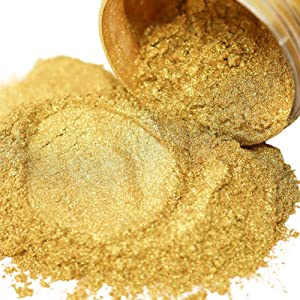 FIREDOTS 1848 Gold Mica Pearl Pigment Powder for Epoxy Resin, Soap Making, and More - 100g of Gold Mica Powder - Epoxy Resin Color Pigment