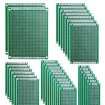 HeyNana 32 Piezas Placas de Fibra de Vidrio de Doble Cara de PCB Tarjeta Placa Prototipo Kit para Soldadura DIY con 5 Tamaños Compatible con los Kits ...