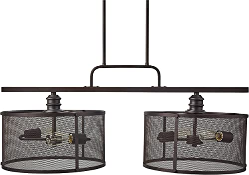 Stone Beam Hobbs Double Mesh Cage Pendant Ceiling Chandelier Fixture With 2 Light Bulbs – 36 Inch Shade, 24 – 66 Inch Cord, Oil-Rubbed Bronze