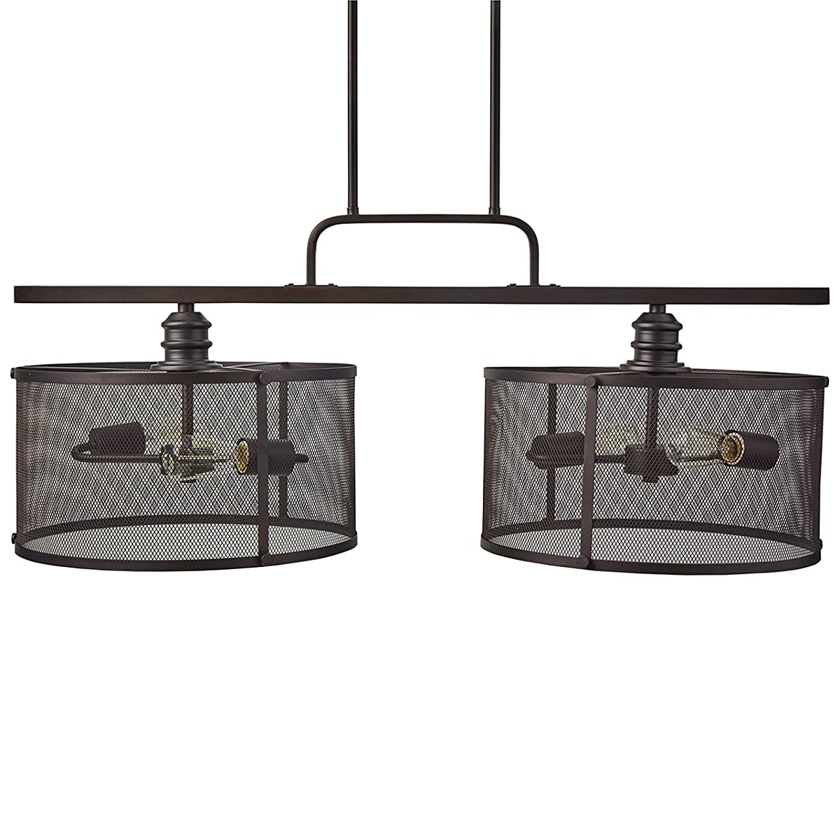 """Stone & Beam Hobbs Double Pendant With Bulbs, 24"""" to 66""""H, Oil-Rubbed Bronze"""