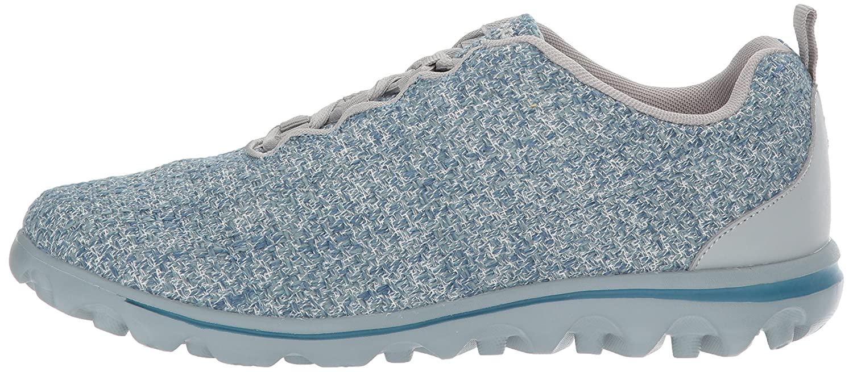 Propet Women's TravelActiv Woven Walking Shoe B01NADPZ3L 7.5 W US|Denim/Grey