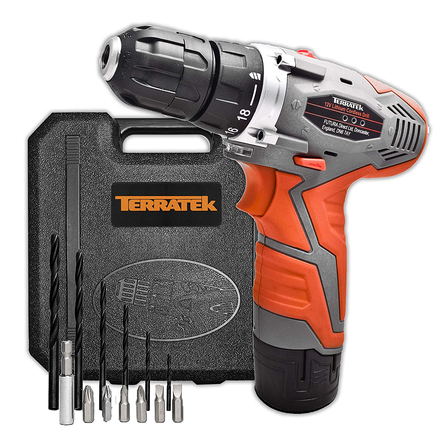 Terratek Genuine 12V Cordless Drill Driver Lithium-Ion Combi Drill, Electric Screwdriver, Variable Speed, Max Torque: 25N.m, Carry Case & 13pc Accessory Kit Included T12V2SCD