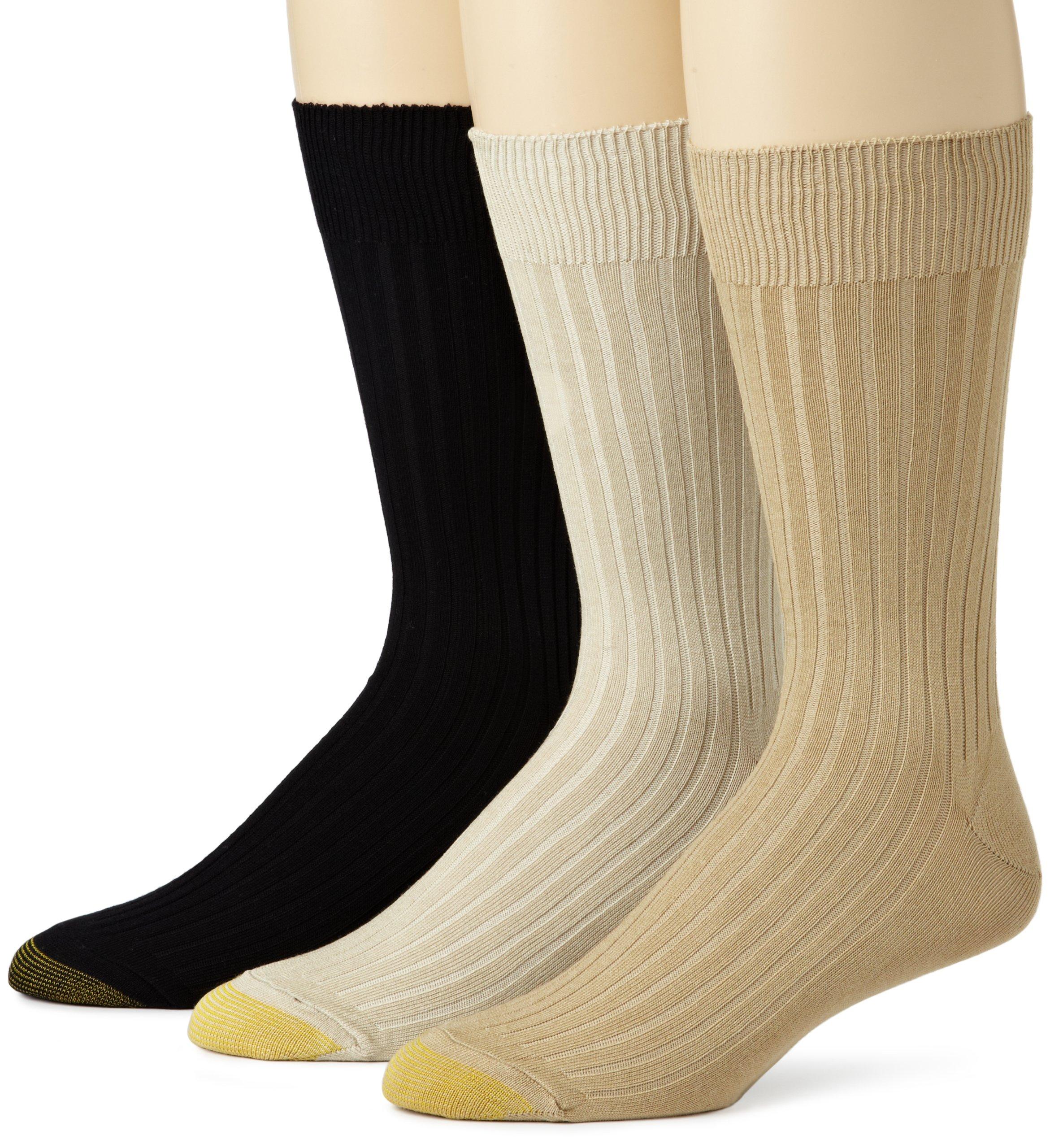 Gold Toe Men's 794S Canterbury 3 Pack Classic Dress Sock, Tan/Khaki/Black, Sock Size: 10-13/Shoe Size:9-11 (Shoe Size Sock Size: 10-13/Shoe Size:9-11.5)