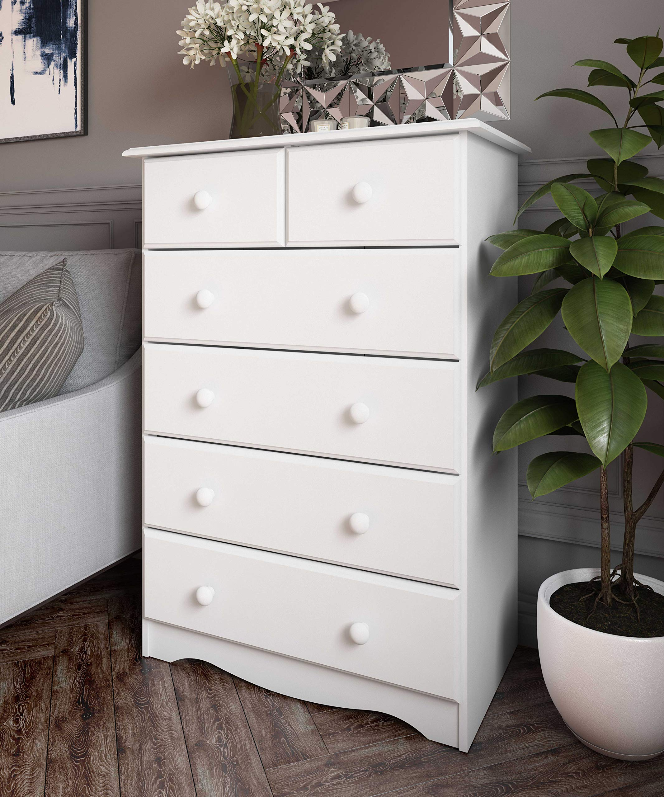 100% Solid Wood 4+2 or 6 Drawer Chest by Palace Imports 5361, White, 32''W x 44.5''H x 17''D. Metal Antique Brass Knobs Sold Separately. Requires Assembly. by Palace Imports