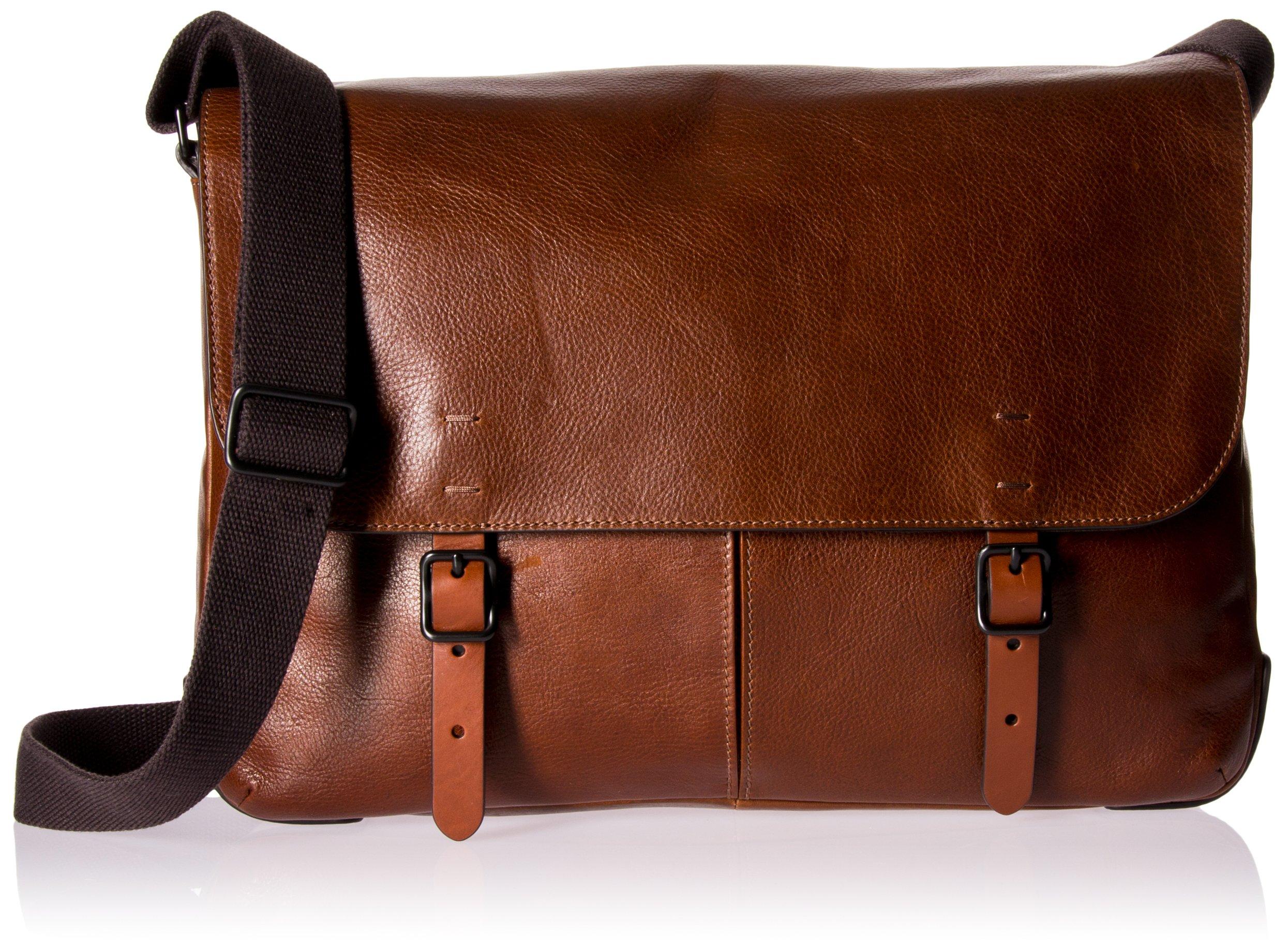 Fossil Mens Buckner Top Zip Workbag, Cognac, One Size