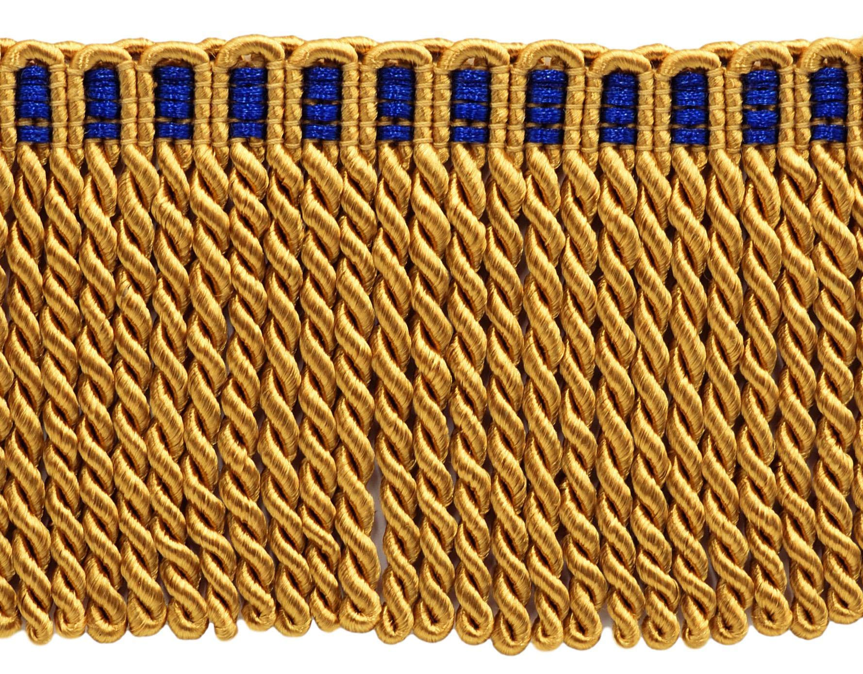 DÉCOPRO 16 Feet Value Pack of 3 Inch Long Bullion Fringe Trim, Style# DB3 - Gold with Blue Header C4T (5.4 Yards / 5 Meters) by DÉCOPRO