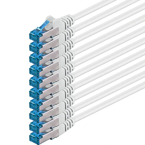 Blanco 10 Piezas CAT6 Ethernet LAN Cable de Red Set 10 GB//s Cable Patch CAT6 S-FTP Doble blindado PIMF 250MHz hal/ógenos Compatible con CAT5 CAT6a CAT7 CAT8 1,5m