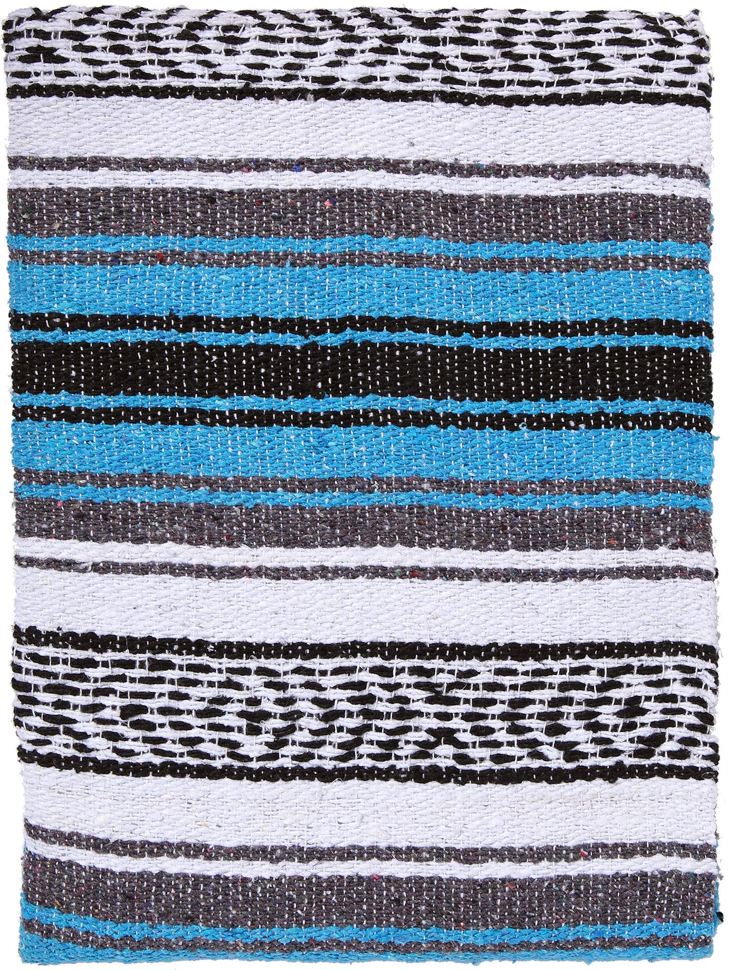 El Paso Designs Genuine Mexican Falsa Blanket - Yoga Studio Blanket, Colorful, Soft Woven Serape Imported from Mexico (Blue) by El Paso Designs (Image #1)