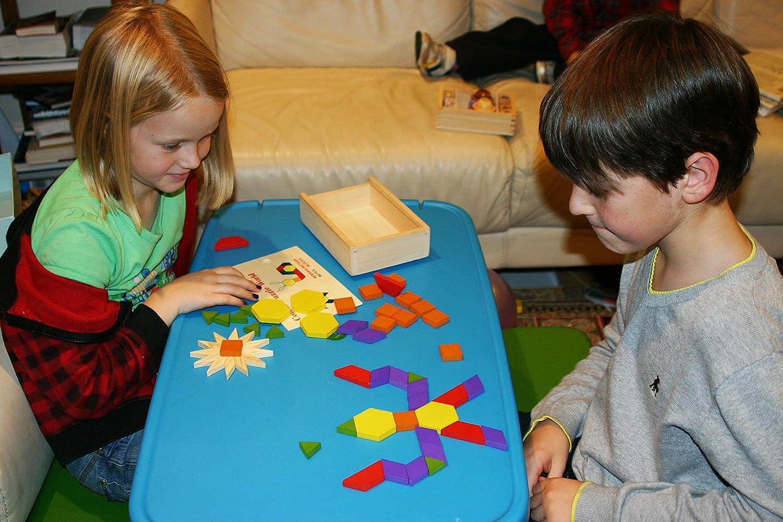 Toys of Wood Oxford Madera bloques y rompecabezas de 60 piezas de madera forma clasificador tangram rompecabezas-geom/étrica forma puzzle