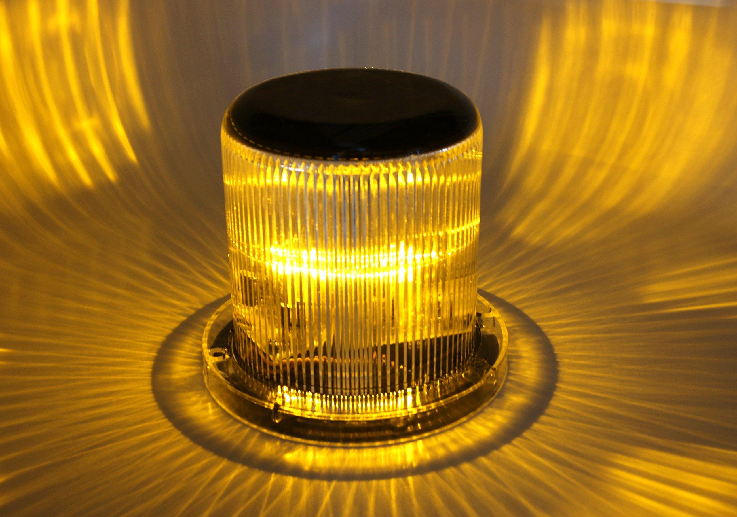 Solar Warning Light - Waterproof Solar Dock Lighting - AMBER LED - Continuous or Flashing 360 Degree Lighting