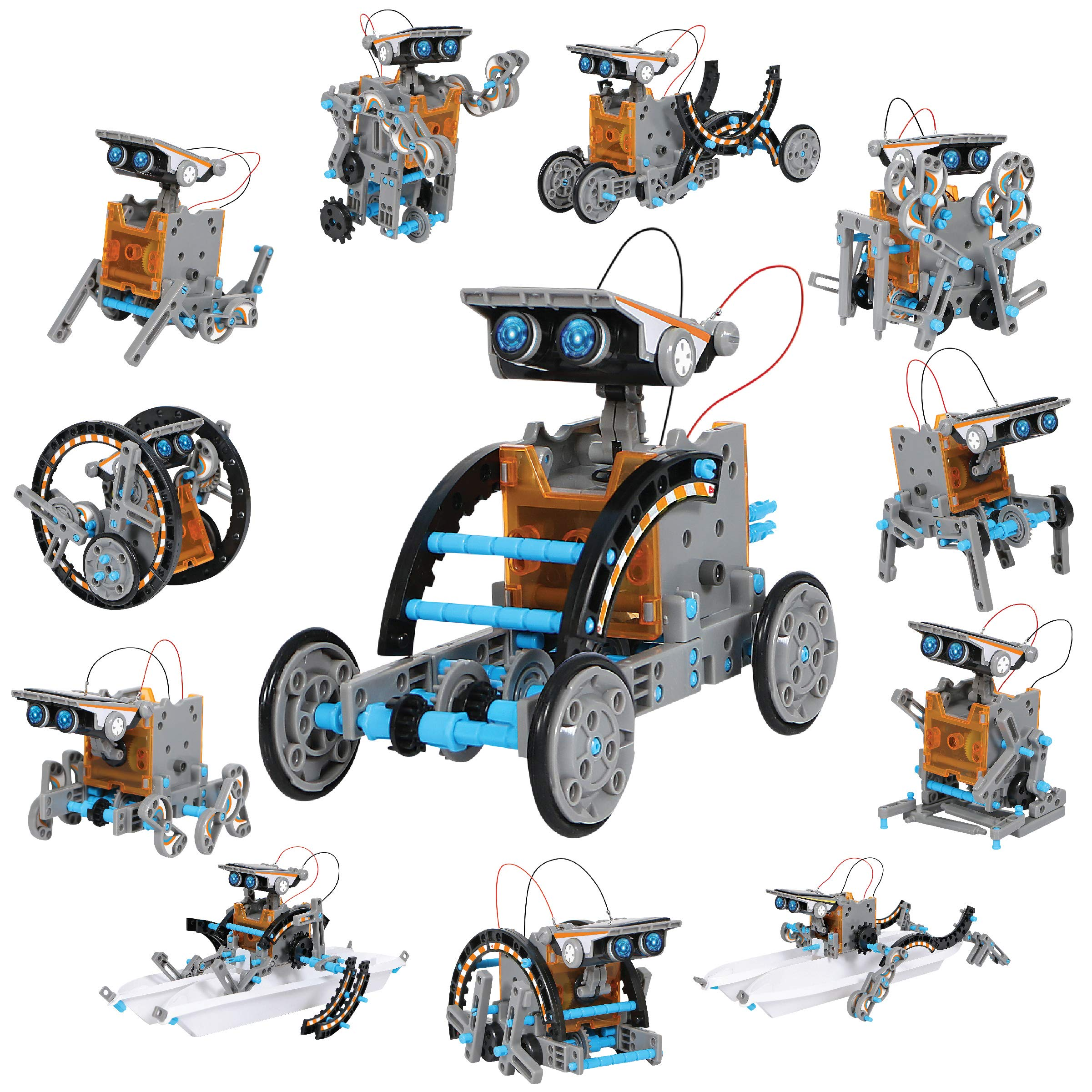 DISCOVERY KIDS Mindblown STEM 12-in-1 Solar Robot Creation 190-Piece Kit with Working Solar Powered Motorized Engine and Gears, Construction Engineering Set by Discovery Kids