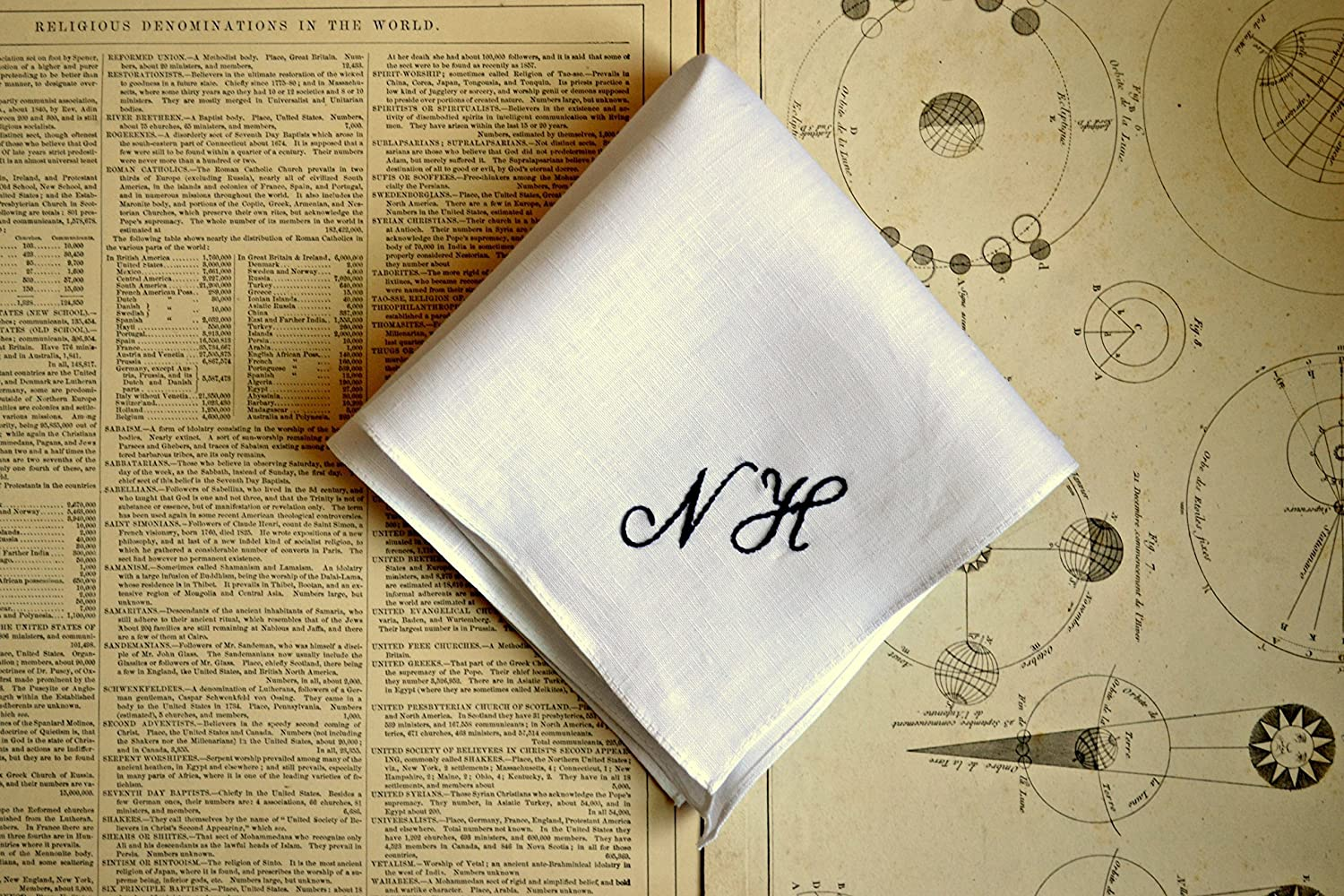 White Linen Handkerchief with Hand Embroidered Monogram