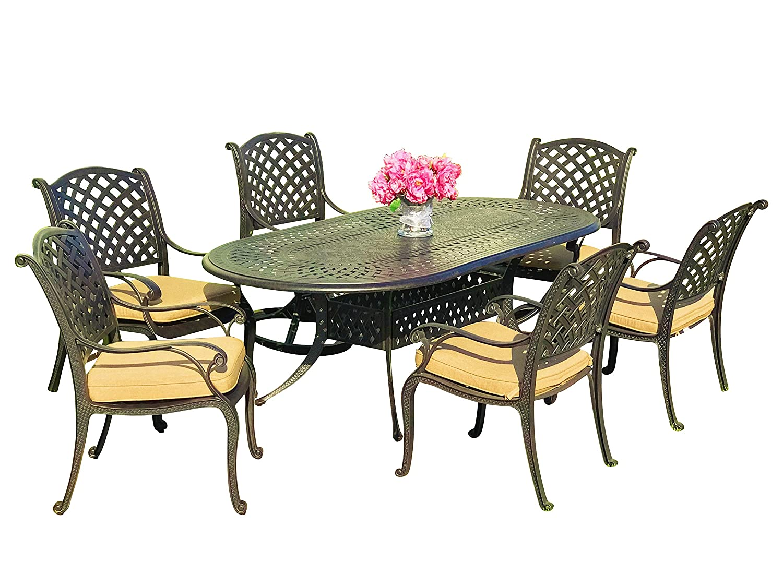 Amazon com everhome designs nevada 7 piece 86 oval cast aluminum patio dining set with premium sunbrella cushions 6 stationary chairs kitchen
