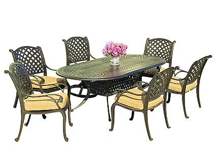 Charmant Everhome Designs   Nevada 7 Piece 86u0026quot; Oval Cast Aluminum Patio Dining  Set With