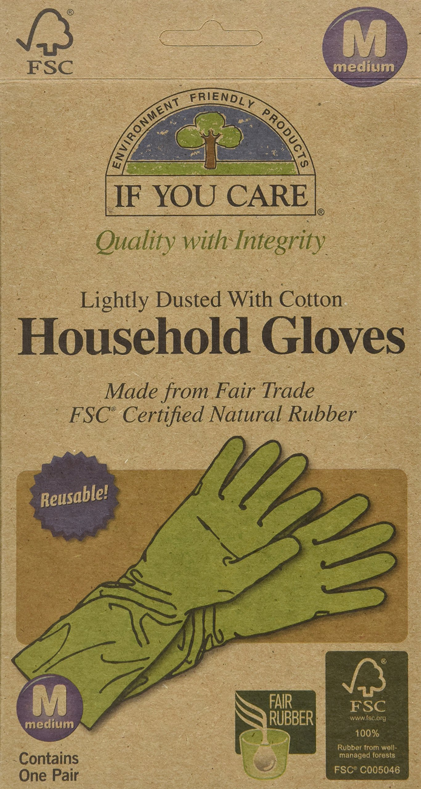IF YOU CARE Medium Cotton Flock Lined Household Gloves, 1 Pair (Pack of 6)