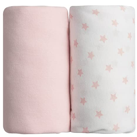 Babycalin - Lot de 2 draps housse rose -