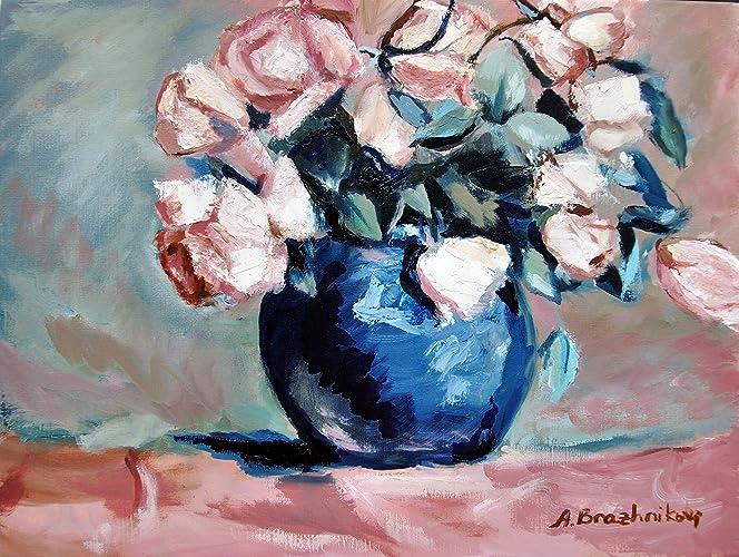 Amazon Pink Roses In Blue Vase Original Oil Painting Still