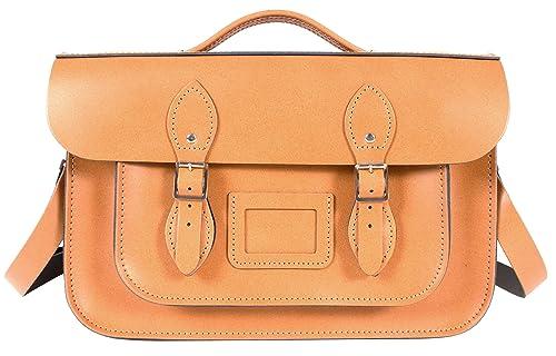 Oxbridge Satchels - Bolso estilo cartera de Piel para mujer Naranja Autumn Tan