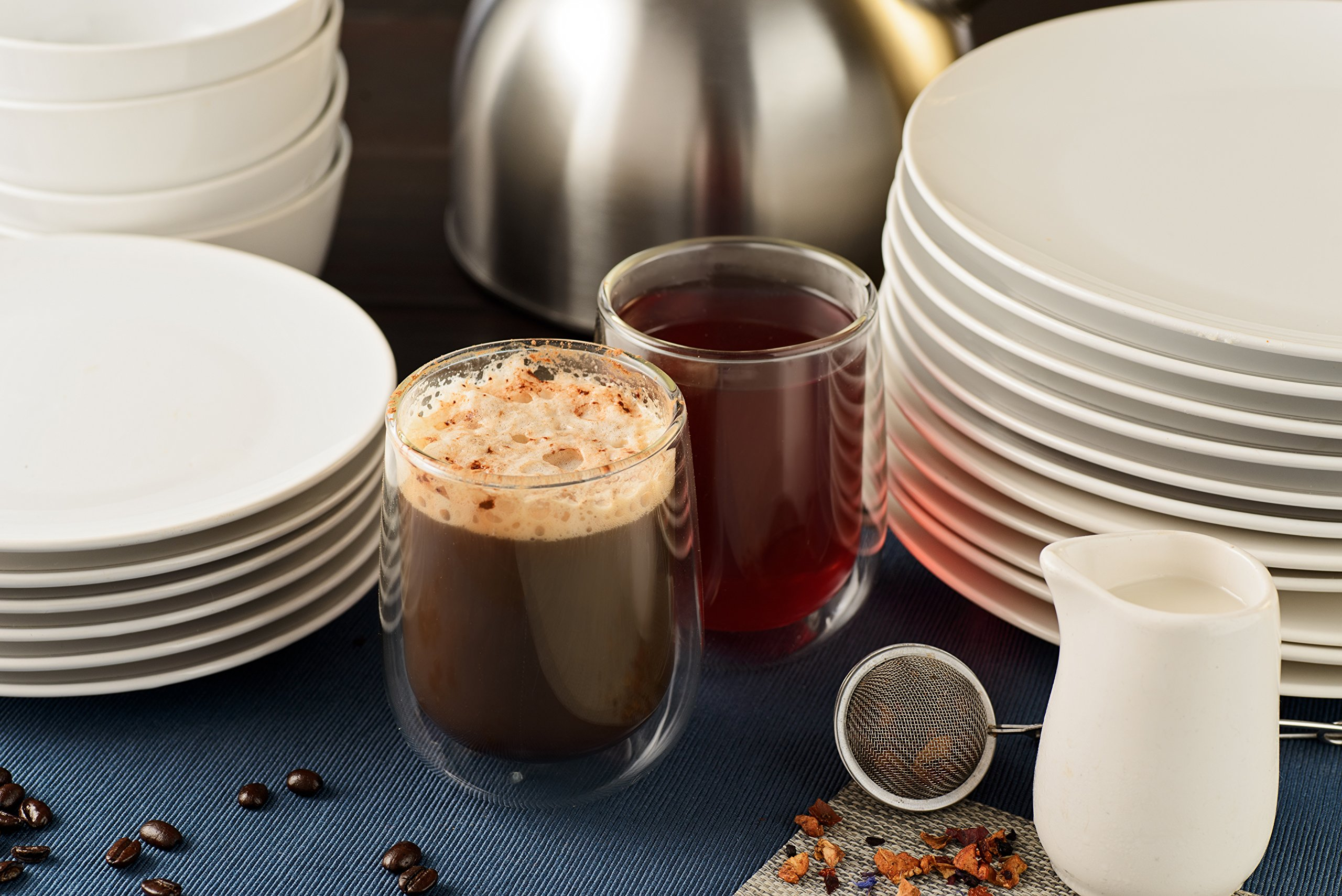 Double Walled Coffee or Tea Glasses, Perfect Espresso Cappuccino Cups or Latte Mugs, Thermo Insulated Premium Quality Borosilicate Glass, Set of 2 (12.1 oz, 360 ml), by HomeKitchenStar by HomeKitchenStar (Image #7)