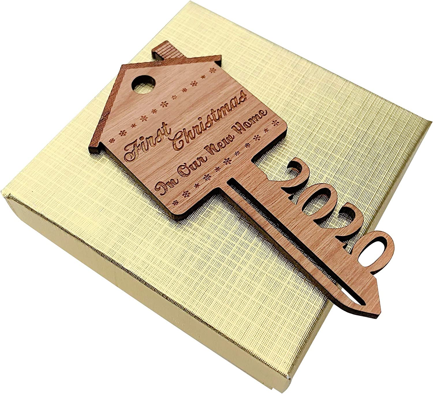 2020 First Christmas in Our New Home Wooden Key Shape Ornament Non-Personalized with Gift Box and String