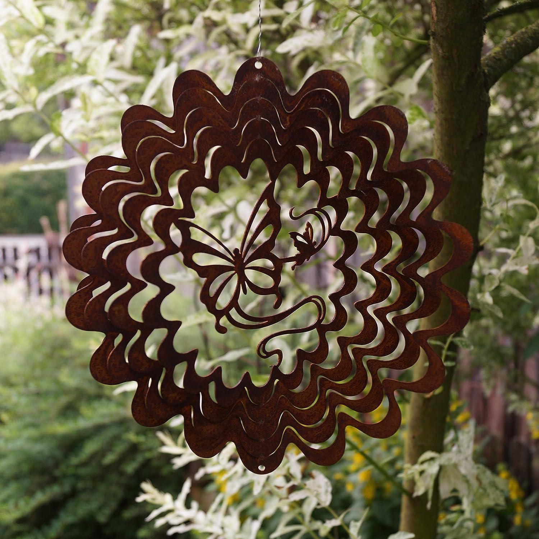 Dekostü berl Edelrost Windspiel Schmetterling filigran D22 cm in welliger Form Gartendeko, inkl. Herz 8x6cm Unbekannt