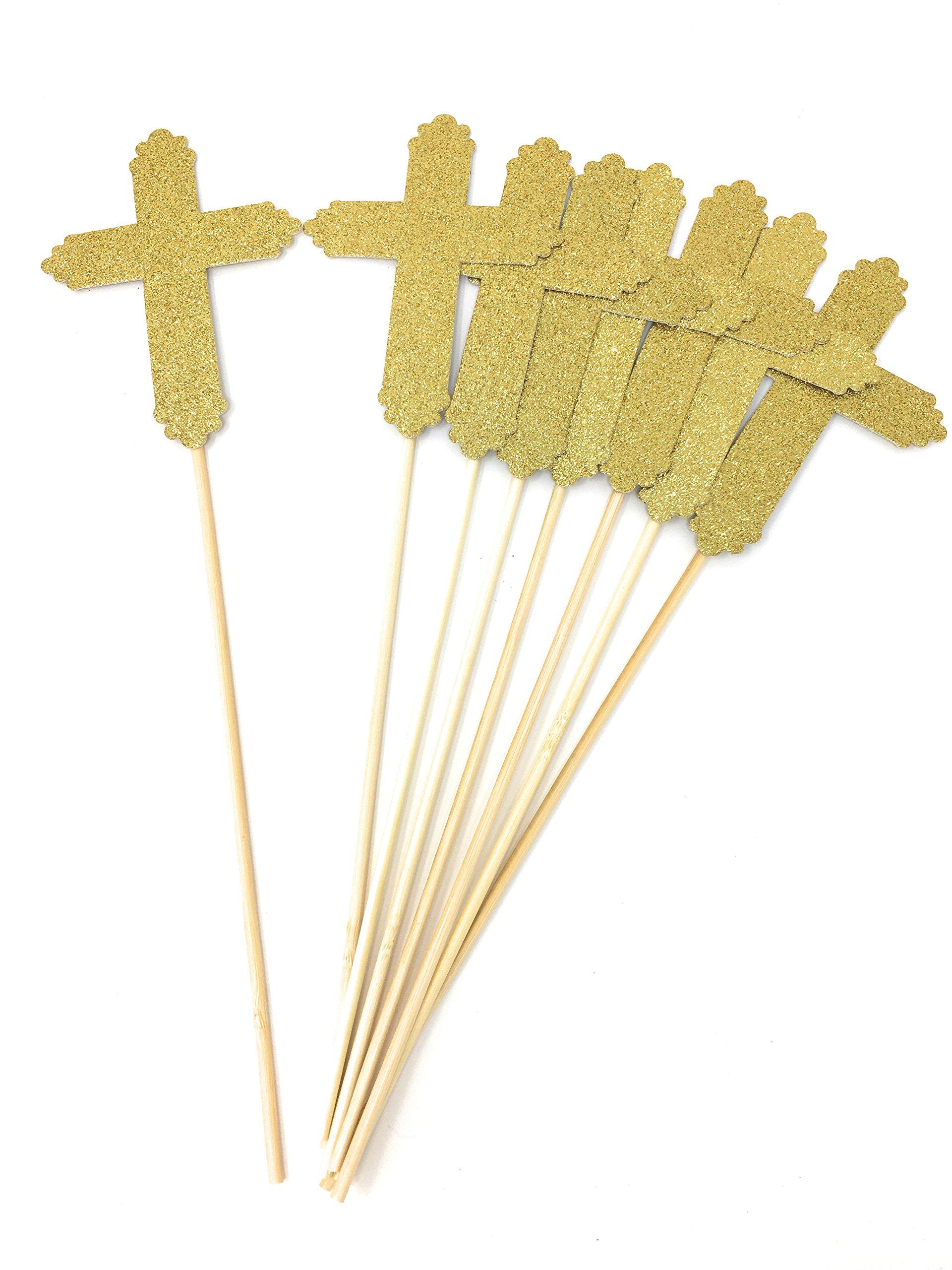 8 Pack Gold Glitter Cross Centerpiece Sticks for Baptism Funeral First Communion Floral Picks (Gold, 8)